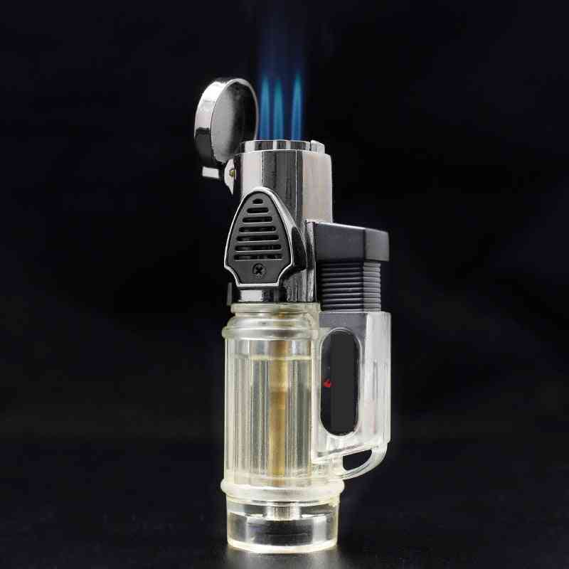 Windproof Torch Jet & Turbo Gas Lighter Three Nozzles Bbq Ignition Inflatable Butane Spray Gun Lighter