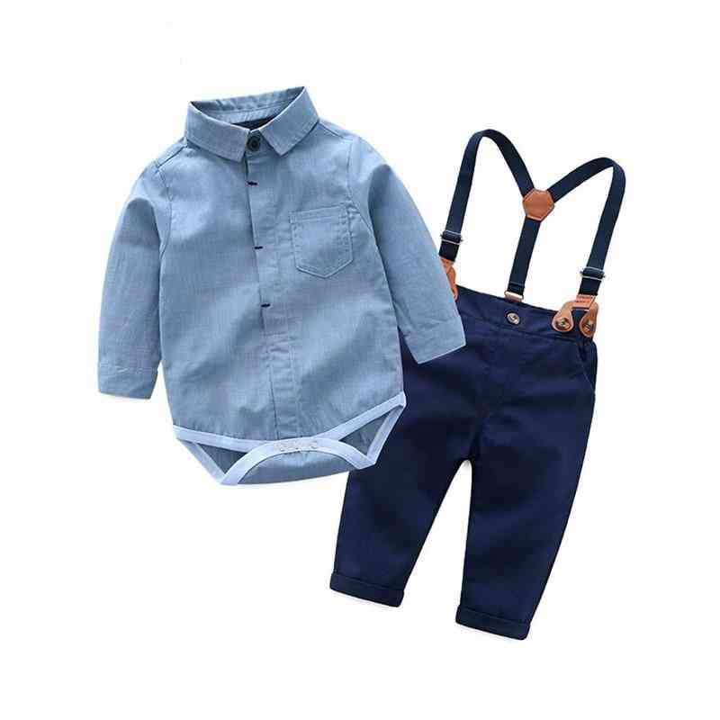 Toddler Baby Gentleman Clothes Sets, Long Sleeve Romper And Suspenders Pants