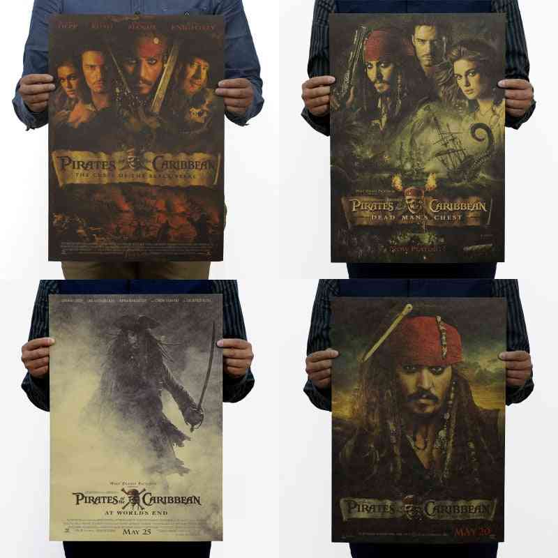 Pirates Of The Caribbean/ Jack Sparrow/ Classic Film Movie/ Kraft Paper/ Bar Poster/ Retro Poster/ Decorative Painting