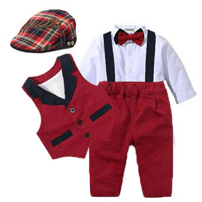 Baby Suits, Newborn Boy Vest/romper/hat Formal Clothing Outfit