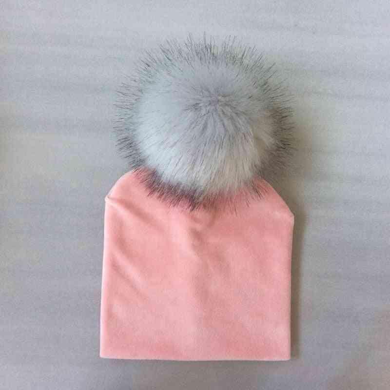 Autumn Winter Kids Solid Velvet Hat With Pompon