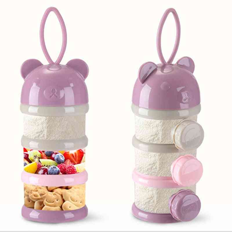 Bear Style Portable Baby Food Storage Box Essential, Cereal, Cartoon Infant Milk Powder, Toddle Snacks Container