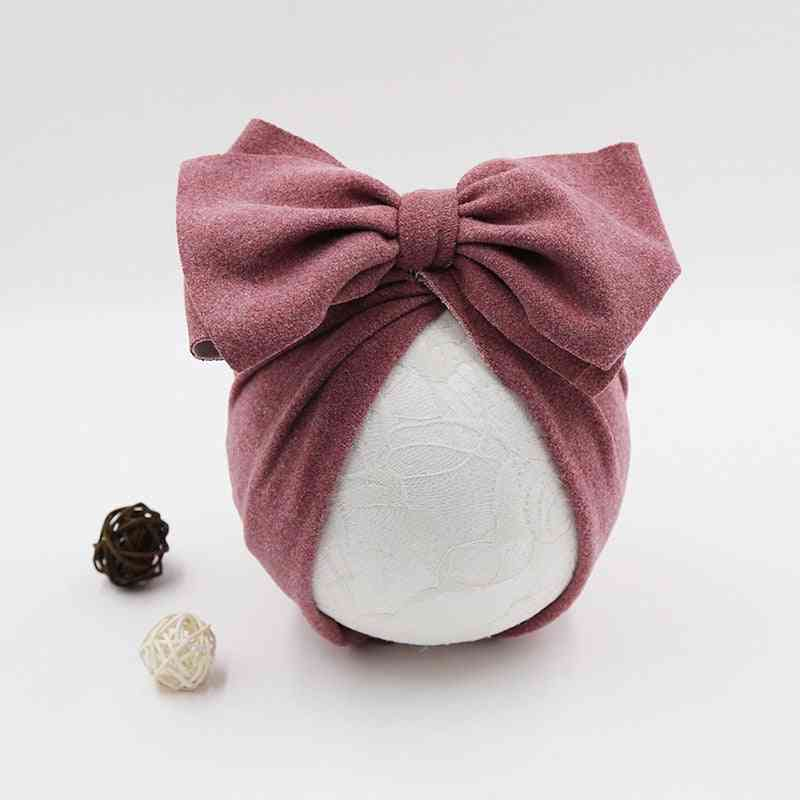Cotton Baby Hat, Newborn Infant Cap, Beanie Top Bow Knot, Photography Props, Baby Turban