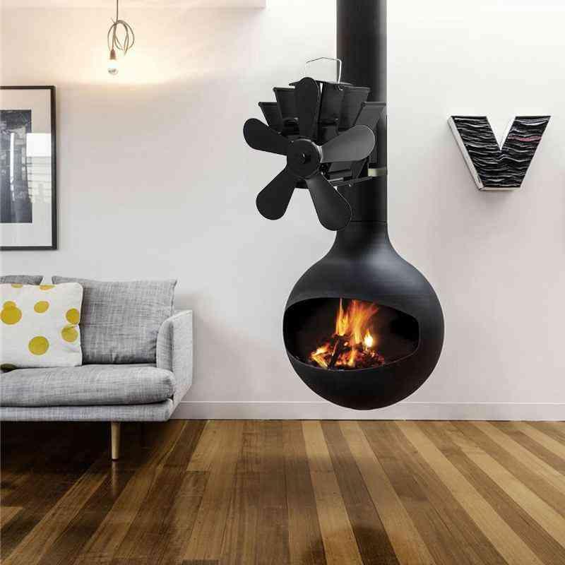 5 Blades Fireplace Stove Black Log Wood Burner Fan