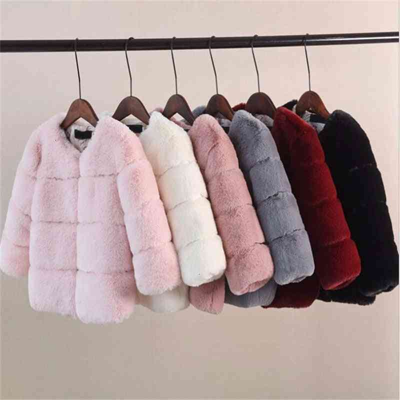 Girls Fur Jacket For Tops Clothes, Baby Jackets Warm Thicken Coat Solid Color