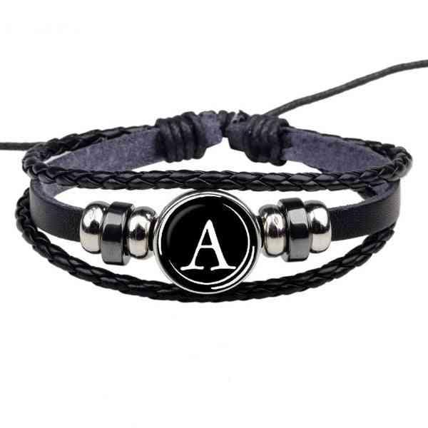 Bracelet Black Leather Bracelet Button Bangle Men Women Fashion Birthday