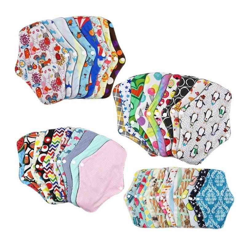 Lady Reusable Cloth Pads With Bamboo Cotton Inner Day Night Menstrual Sanitary Anti-side Leakage