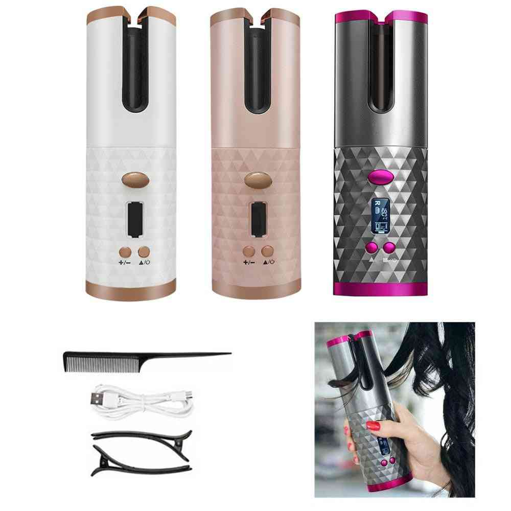 Wireless Automatic, Curling Iron Hair, Usb Rechargeable, Lcd Hair Machine With Mobile Power
