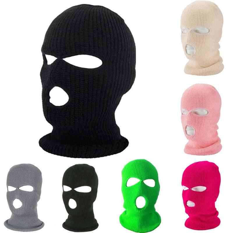 Ski Mask Knitted Face Cover, Winter Balaclava, Full Face For Winter, Outdoor Sports, Cs Three Hole Knit Hat