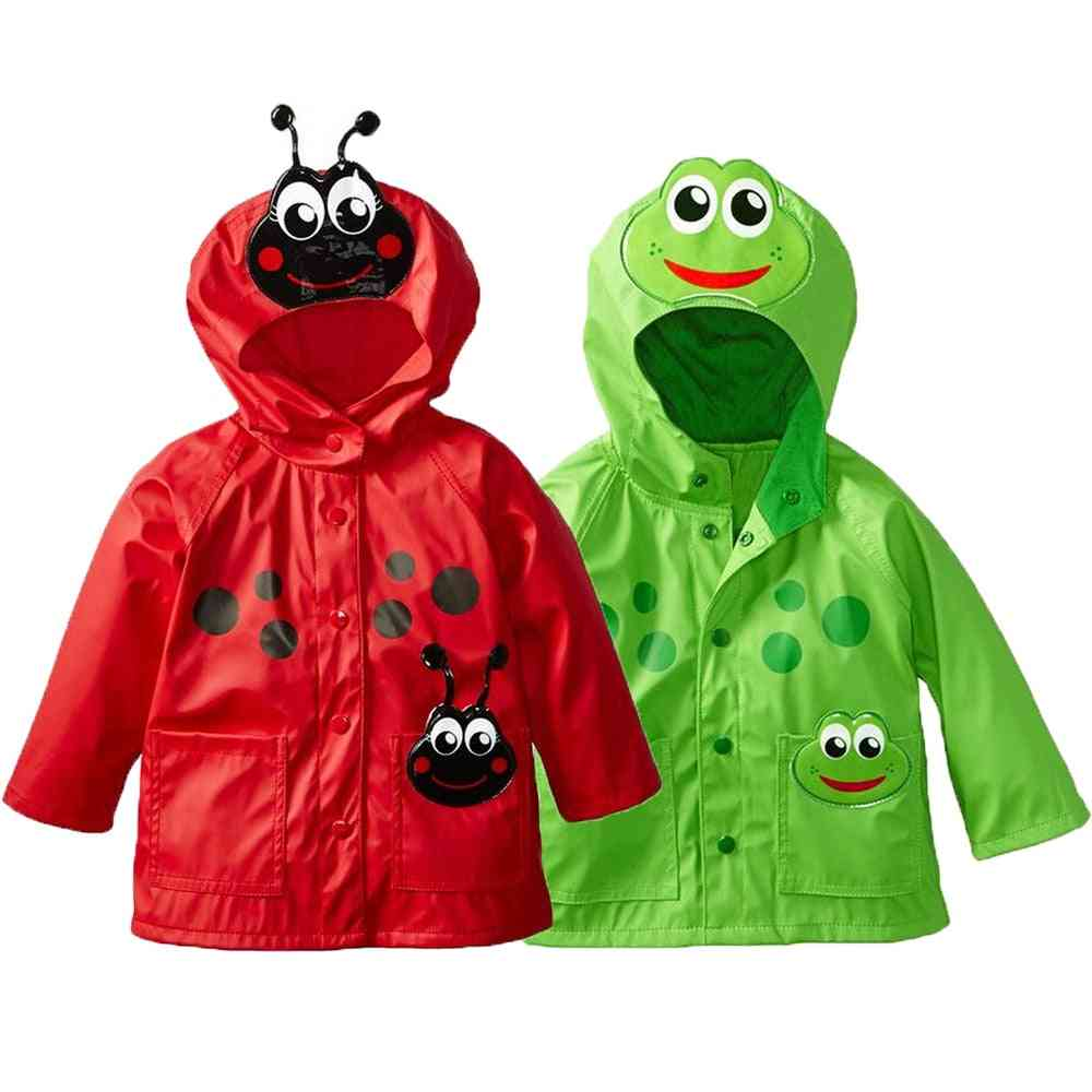 Girls Raincoat Toddler Hooded Frog Ladybug Flower Dinosaur Pattern Waterproof Coat