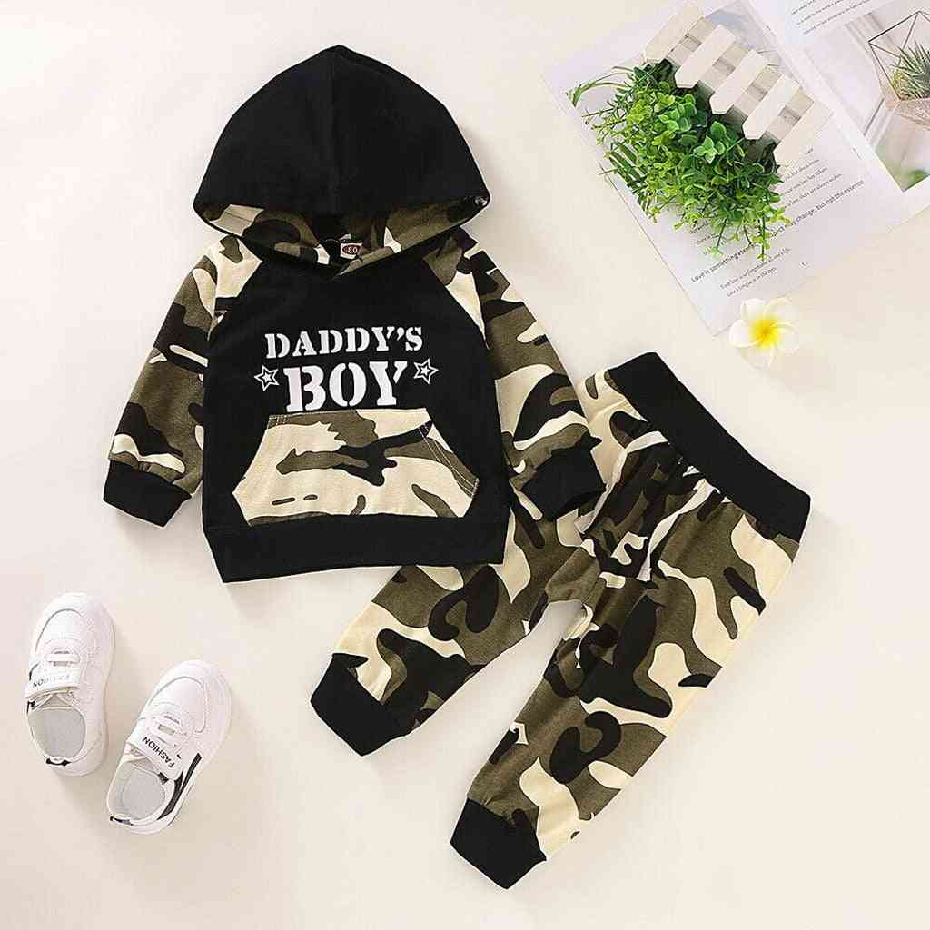 Letter Hoodie T-shirt, Tops & Camouflage Pants, Outfits Set For Baby Boy