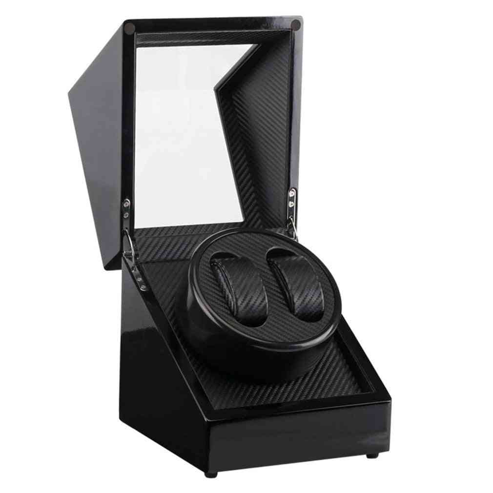 Us Plug, Wooden Lacquer Piano, Carbon Fiber Double Watch Winder Box, Quiet Motor Storage Display Case For Watches
