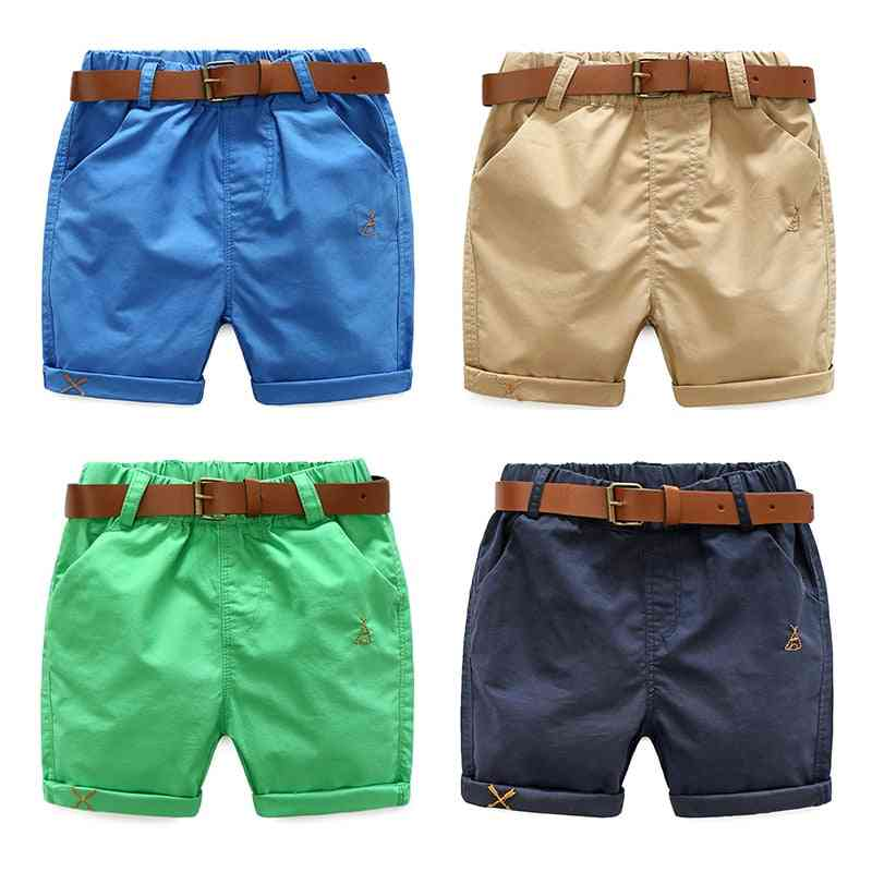 Summer Cotton Solid Color's Running Sports Shorts With Leather Belt