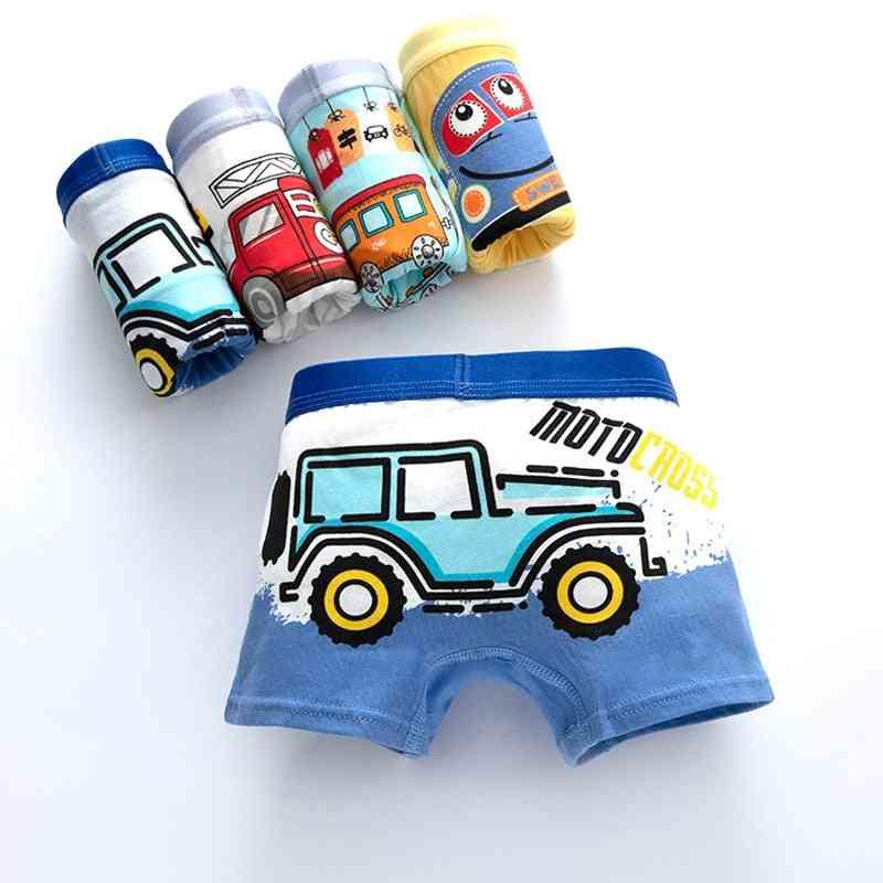 Children's Underwear, Boy Cute Panties, Cartoon Print, Underpants Train Boxers, Toddler Car Print, Comfortable Shorts