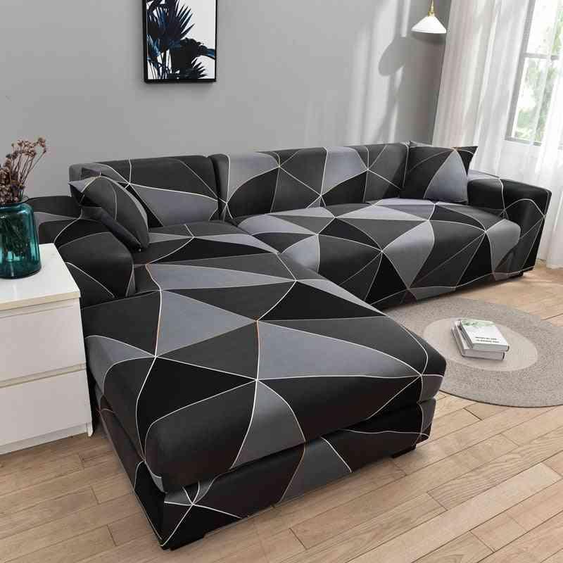 Square Lattice Printed L Shape Sofa Covers ( Set 1)