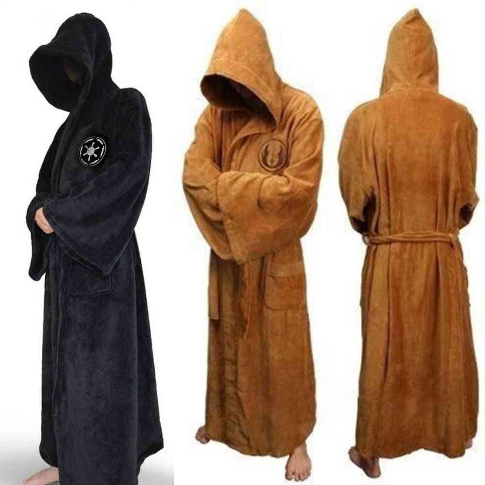 Winter Flannel Robe With Hooded Thick Dressing Gown Jedi Empire Sleepwear