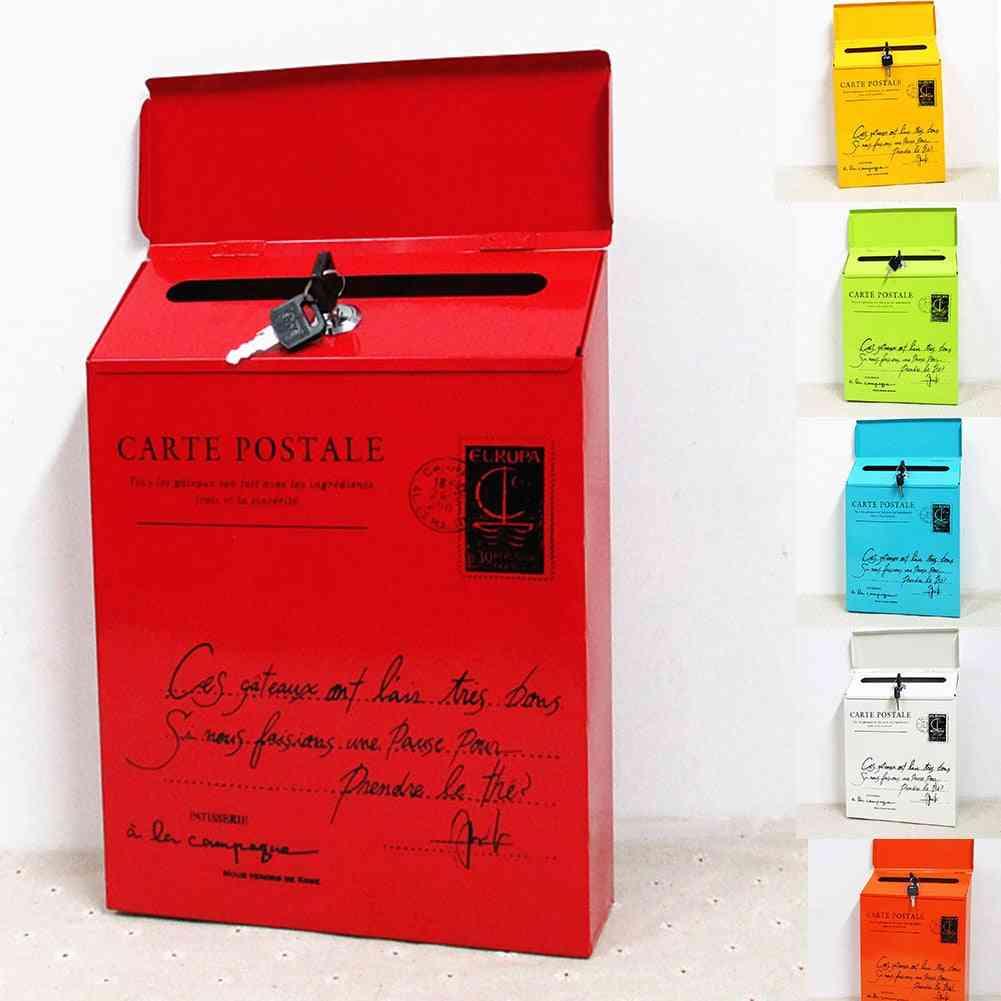 Vintage Metal Mail Box Case Tin Newspaper Letter Waterproof Post Box