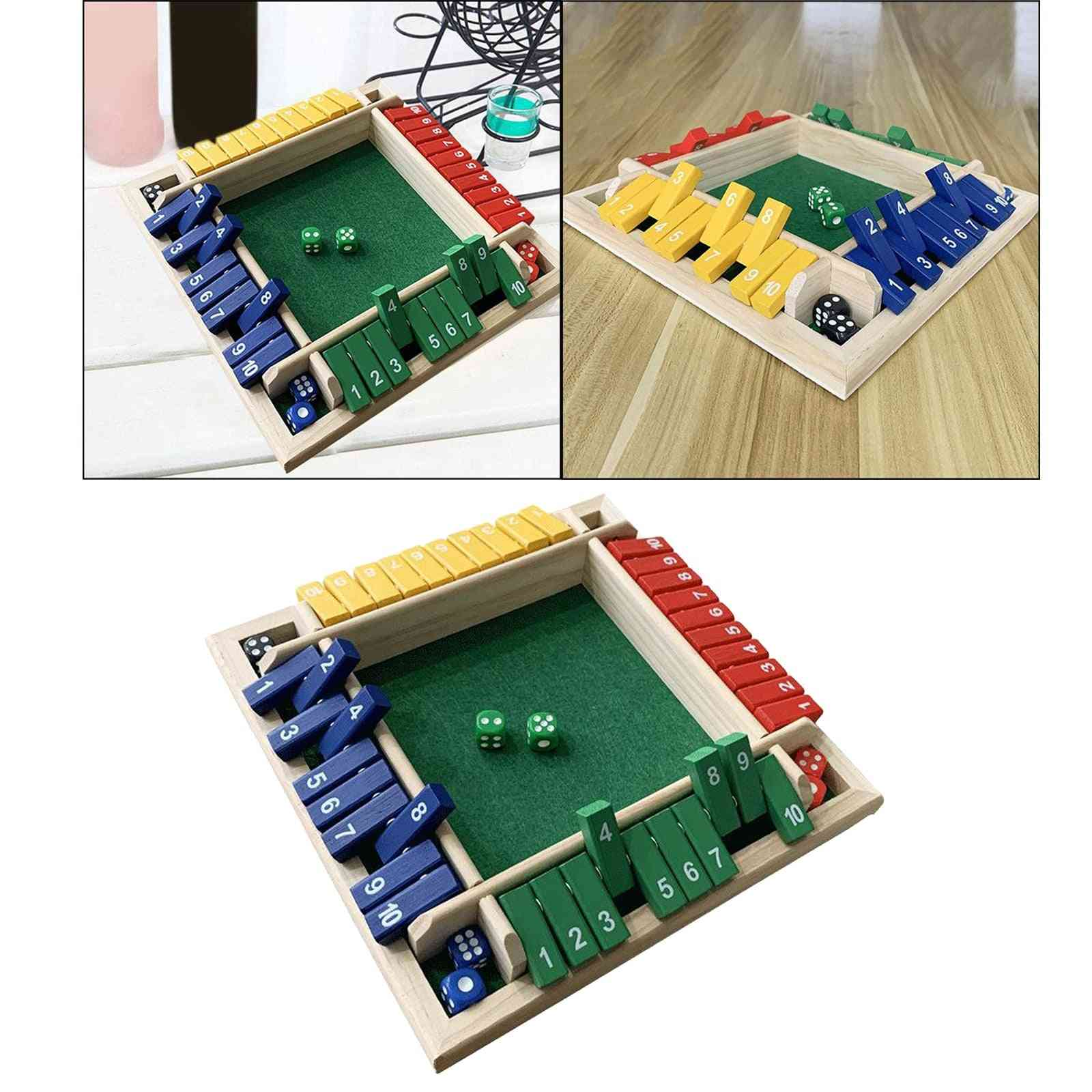 4 Sided Shut The Box Board Number Drinking Game