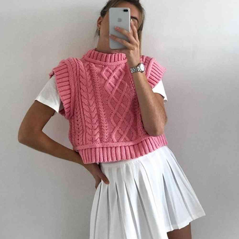 Autumn Sweater Cropped Tank Pretty Pink Vest Women Cable Knit Sleeveless Knits Jumper Pullovers