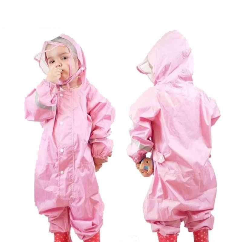 Fashionable Waterproof Jumpsuit Raincoat Hooded Cartoon Kids One-piece Gear Suit