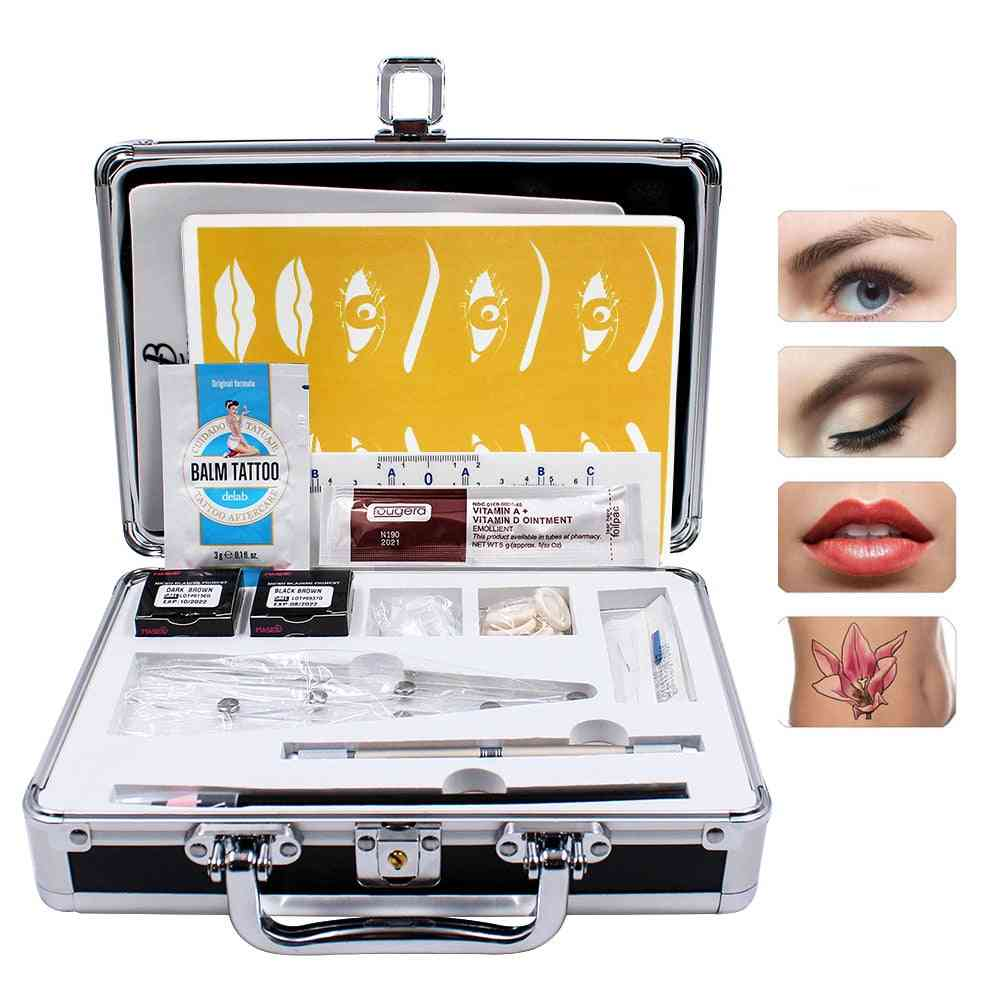 Practical Pigments 3d Microblading Kits, Eyebrow Tattoo Makeup Pen, Needle, Paste Skin For Beginners, Body Art