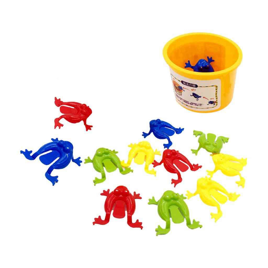 Assorted Jumping Frog Toy With Bucket, Game Kids Party Favors