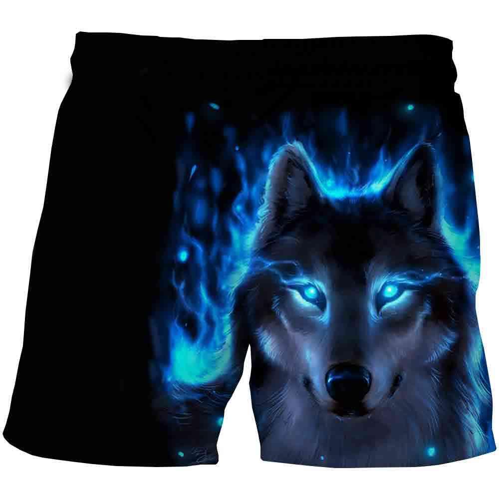 Wolf Shorts Kids Cartoon Shorts Summer Beach Loose Casual Pants