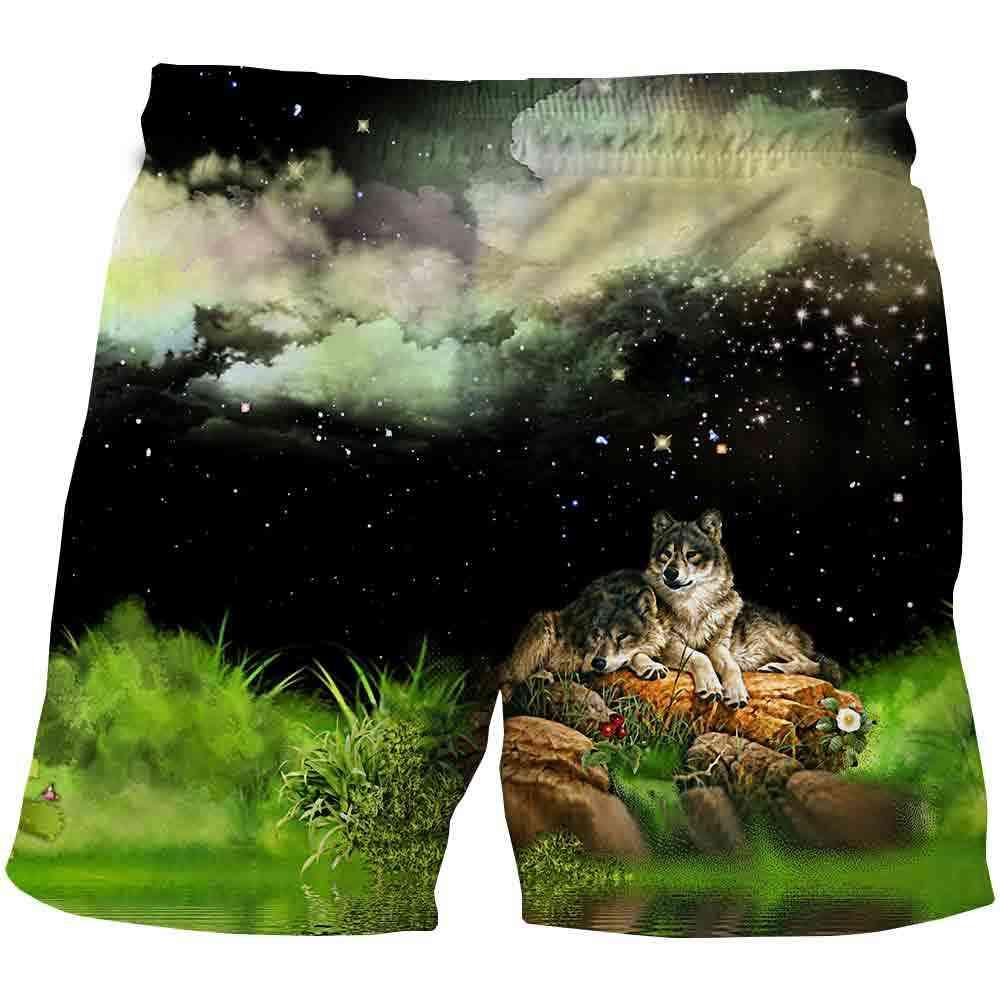 Wolf Kids Cartoon Shorts-girls Summer Beach Loose Casual Pants