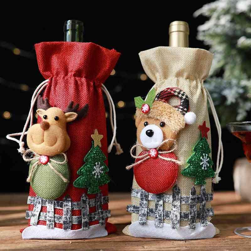 Christmas Wine  Santa Claus Bottle Cover Bag
