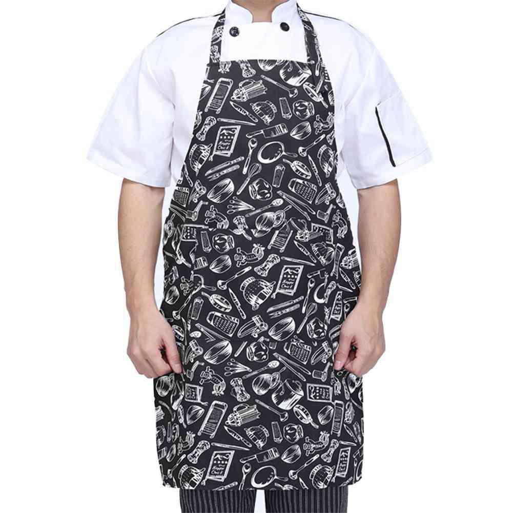 Adjustable Half-length Adult Apron Striped For Hotel/restaurant Chef Waiter / Kitchen Cook With 2 Pockets