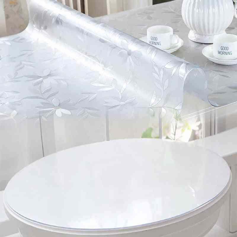 Soft Glass Tablecloth Transparency Pvc Table Cloth Waterproof Kitchen Dining Cover For Rectangular 1.0mm