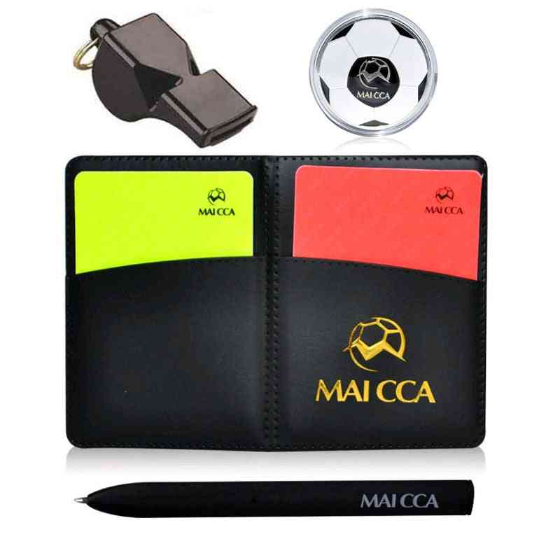 Soccer Whistle Referee Coin Football Cards With Pen Notebook Wallet Set