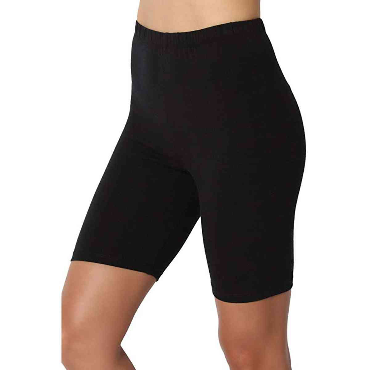 Woman Solid Shorts Elastic Boxer Breathable Stretchy Force High Waist Shorts