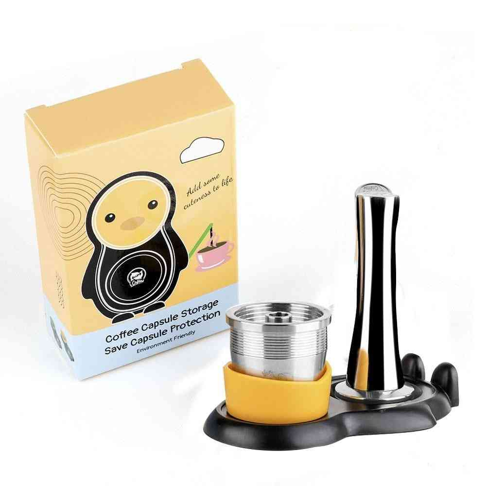 Stainless Steel Reusable Illy Coffee Filter Tamper Set Refillable
