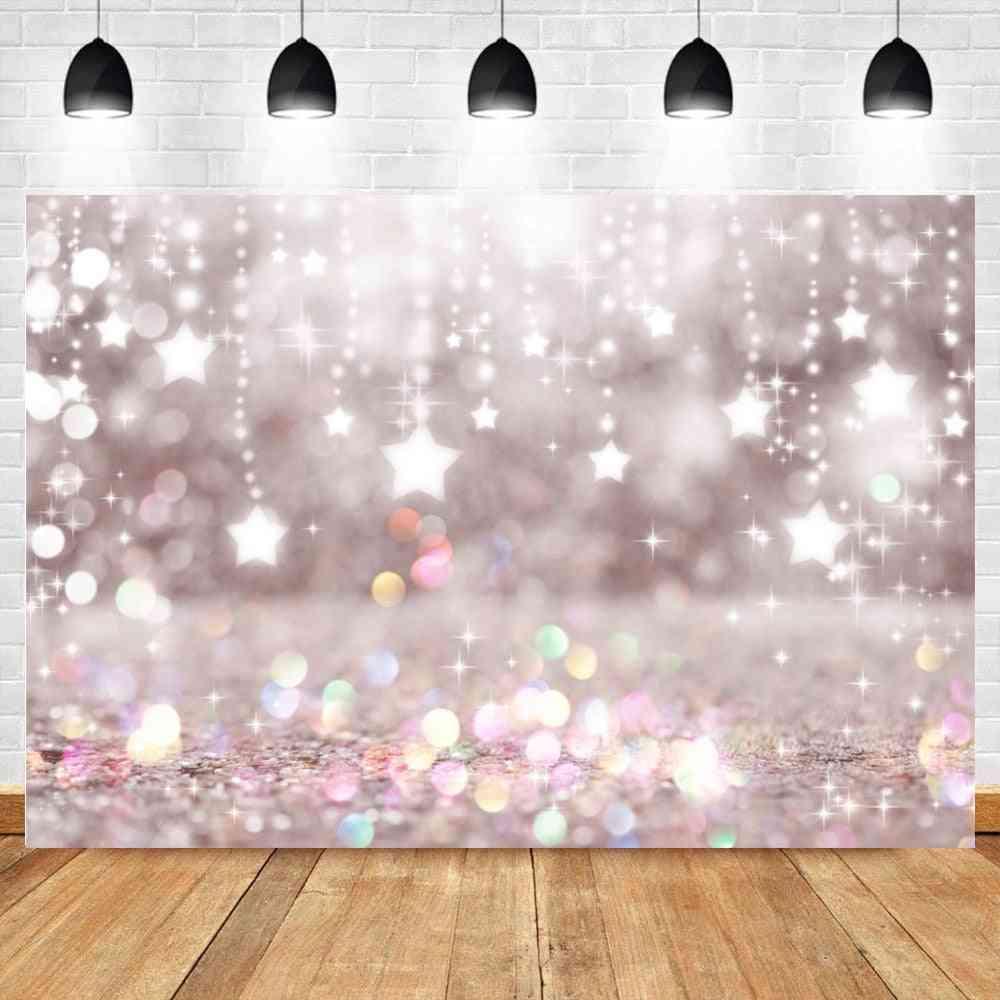 Fantasy Glitter Star Polka Light, Birthday Party Child Background Photography Backdrop