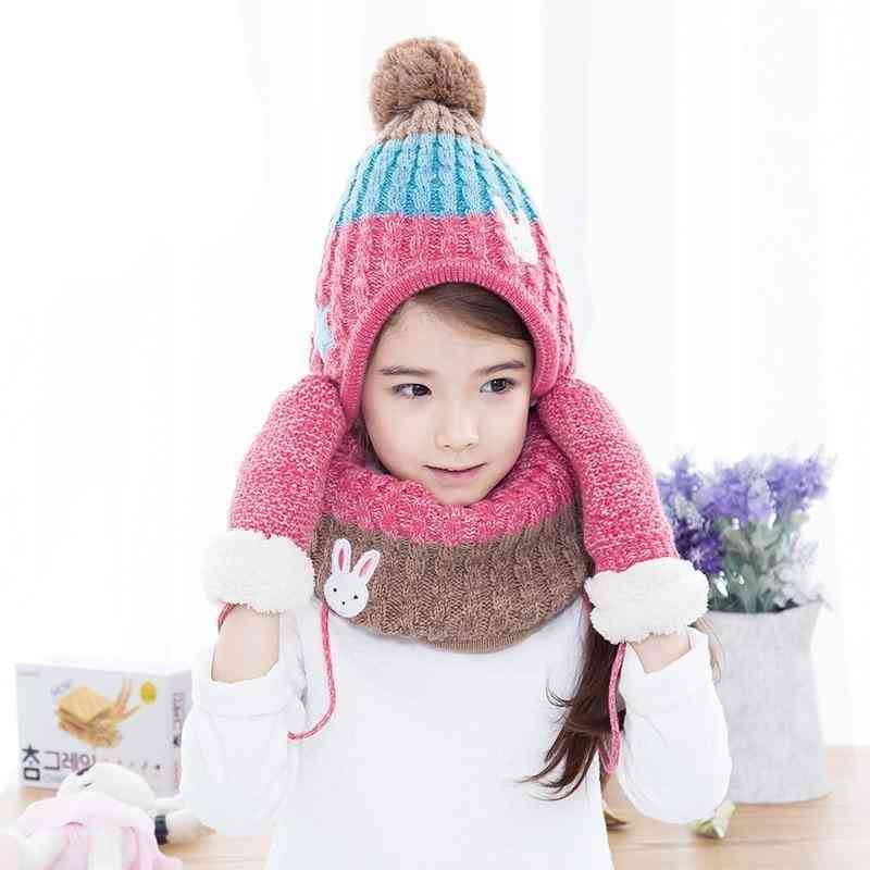 Winter Knit Hat Scarf Mitten Set
