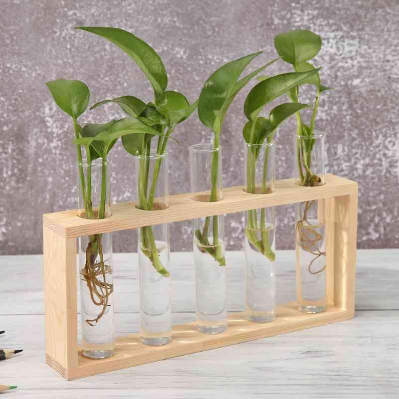Transparent Glass Vase Wood Frame Iron Art Set
