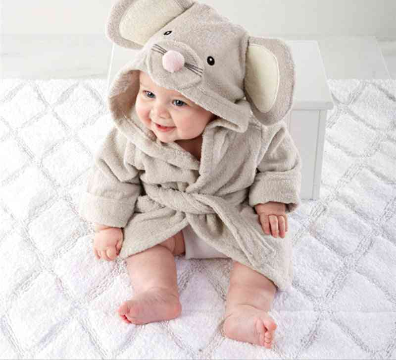 Baby,, Winter Warm Cute Animal Fannel Plush Hooded, Bathrobe Clothes, Outfits, Infant Toddlers Jumpsuit Costume