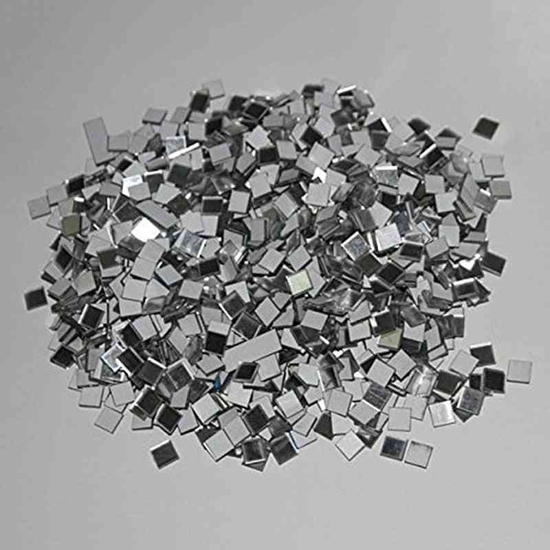 100pcs/lot Mini Square Glass Mirror Mosaic Tiles For Diy Home Decoration (as Photos)