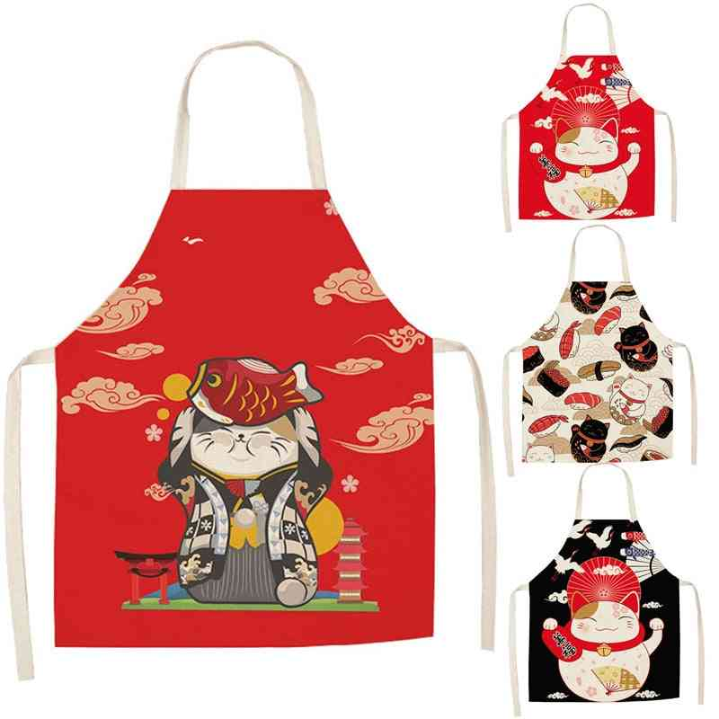 Lucky Cat Kitchen Aprons For Women Cotton Linen Bibs Household