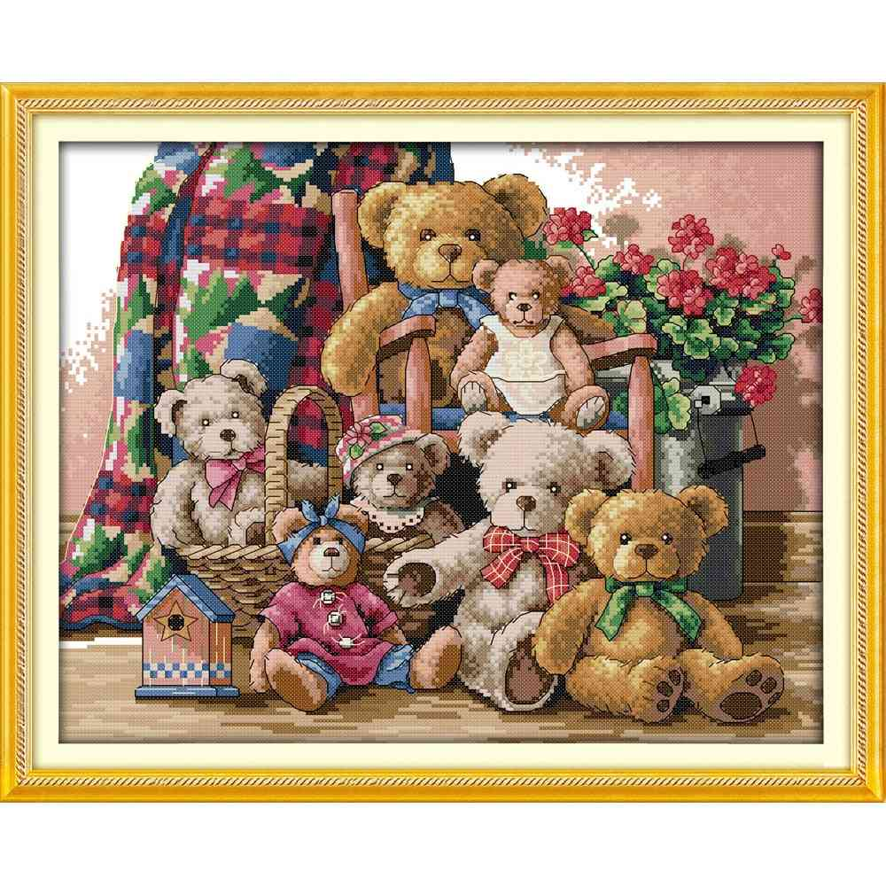 Everlasting Love Christmas Bear Family Ecological Cotton Chinese Cross Stitch Kit