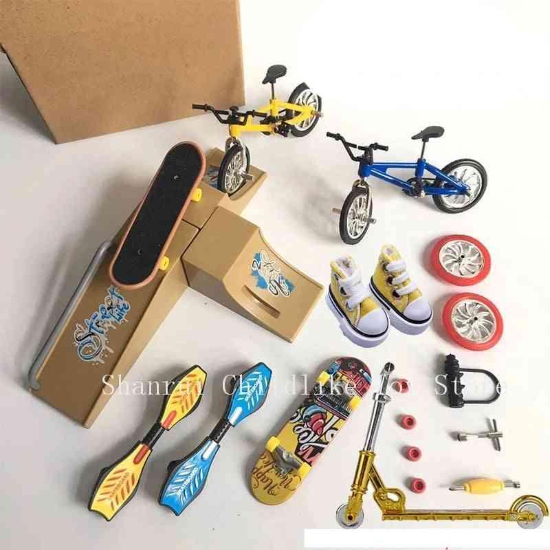 Mini Finger Skateboarding Fingerboard Bmx Bicycle Scooter Shoes Skate Boards Mini Bikes For