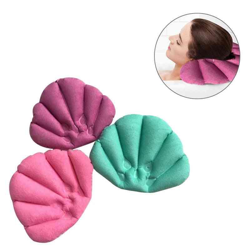 Soft Bathroom Pillow Home Comfortable Spa Inflatable Bath Cups Shell Shaped Neck Bathtub Cushion Accessories (random Color)