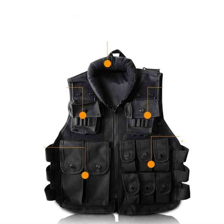 Black Kid's Tactical Vest  For Games And Trainning Scouting Vest Ripstop Cosplay (black One Size)