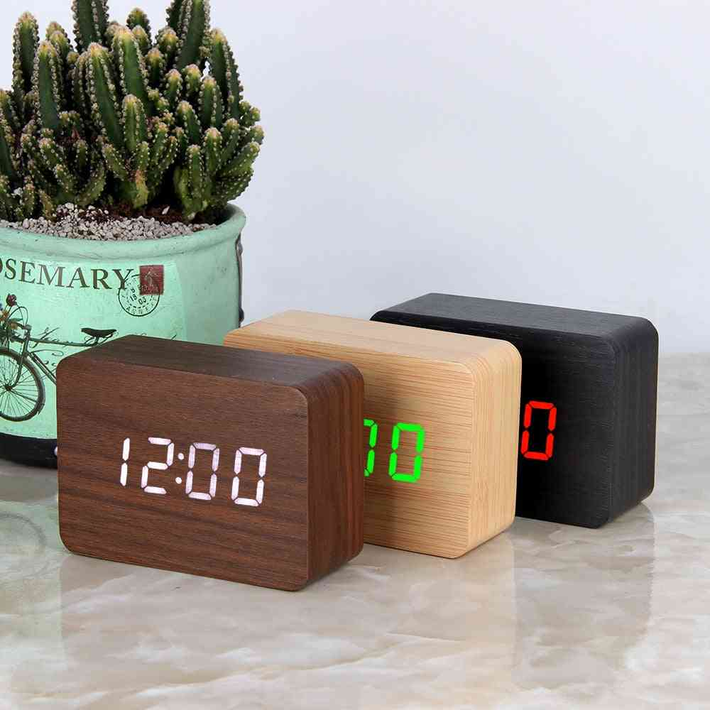 Led Wooden Digital Alarm Desktop Table Clock