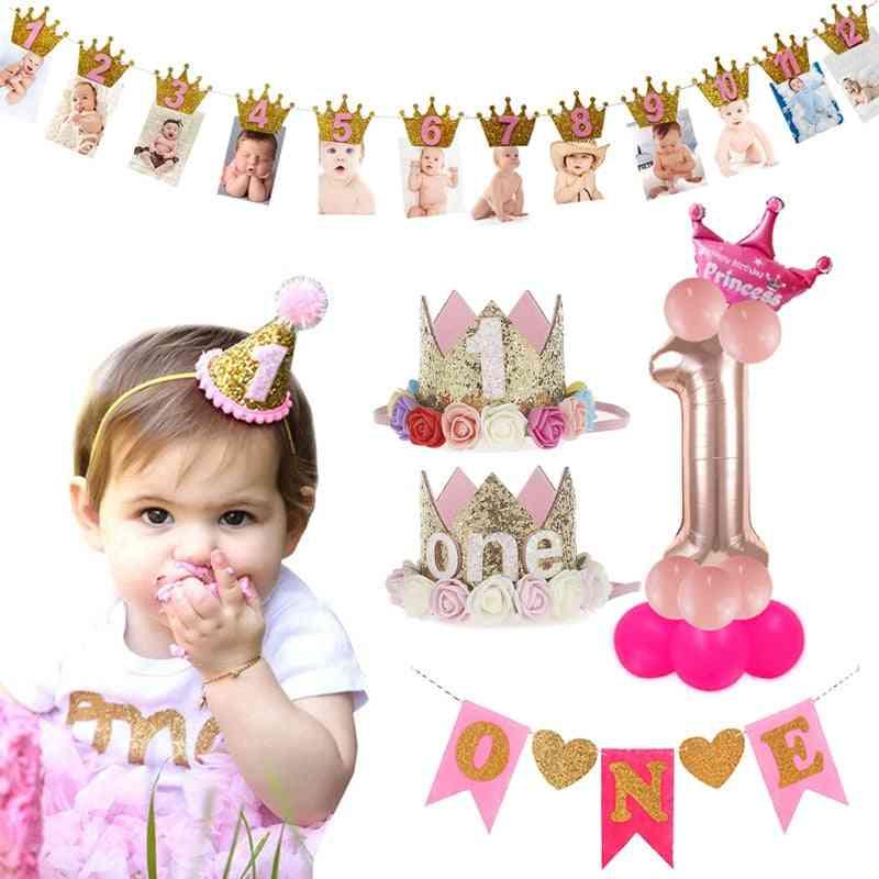 Kids Birthday Party Decoration Crown Baby Boy Girl Balloon Garland Shower Party Supplies