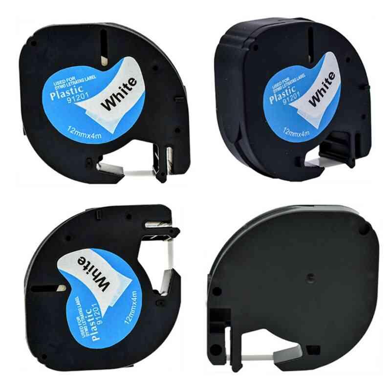 Compatible Black On White Dymo Letratag Plastic Tape Lt 91331 Lt9120112267 18769 18771