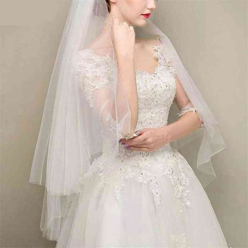 Simple Two Layers Wedding Veils Ivory White Short Tulle Bridal Veil
