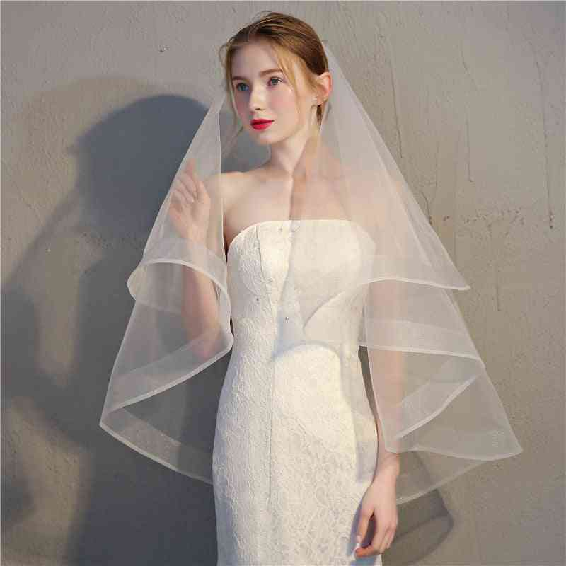 Champagne Two Layers Bridal Veils, Ribbon Edge Wedding Simple Two Layers Veils