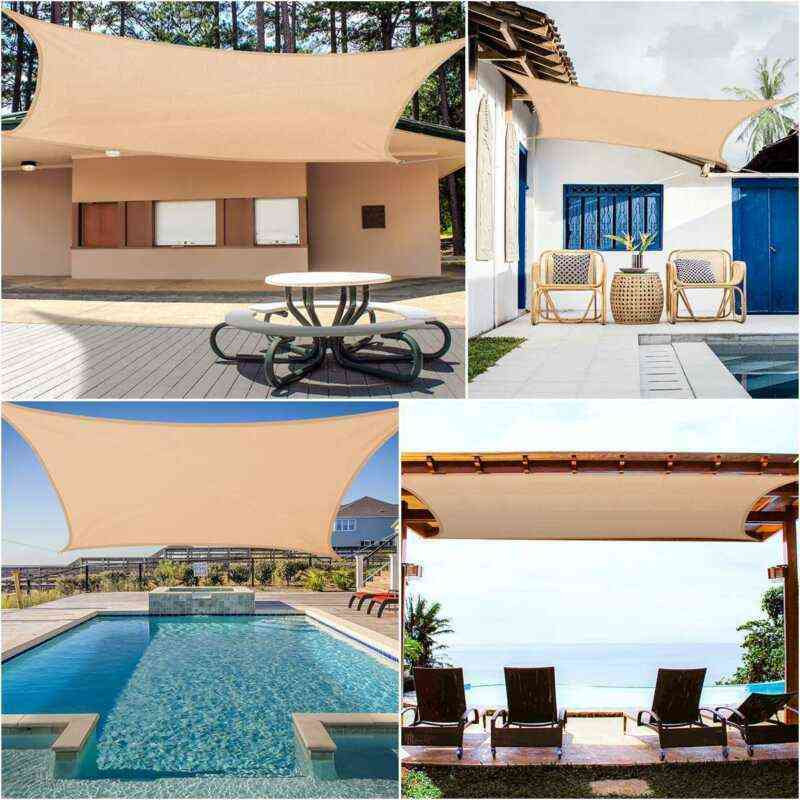Waterproof Sun Shade, Polyester Square, Rectangle, Sail Garden Terrace Canopy, Swimming, Camping, Hiking Yard